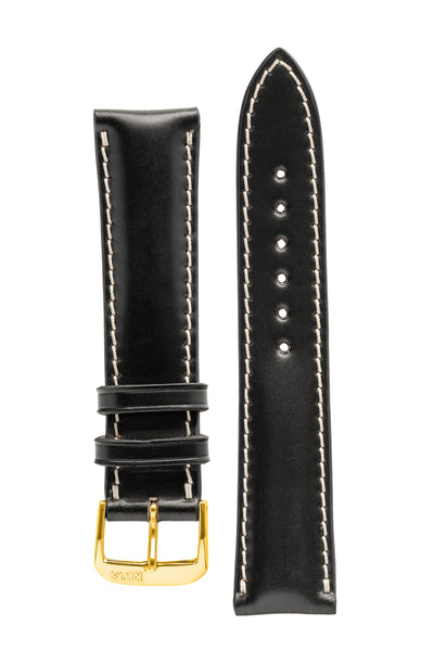 Rios1931 NEW YORK Shell Cordovan Leather Watch Strap in BLACK
