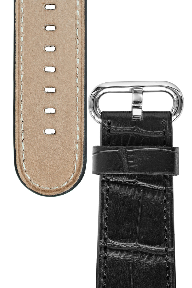 Rios1931 STREAM Alligator-Embossed Leather Watch Strap for 42 / 44mm Apple Watch in BLACK