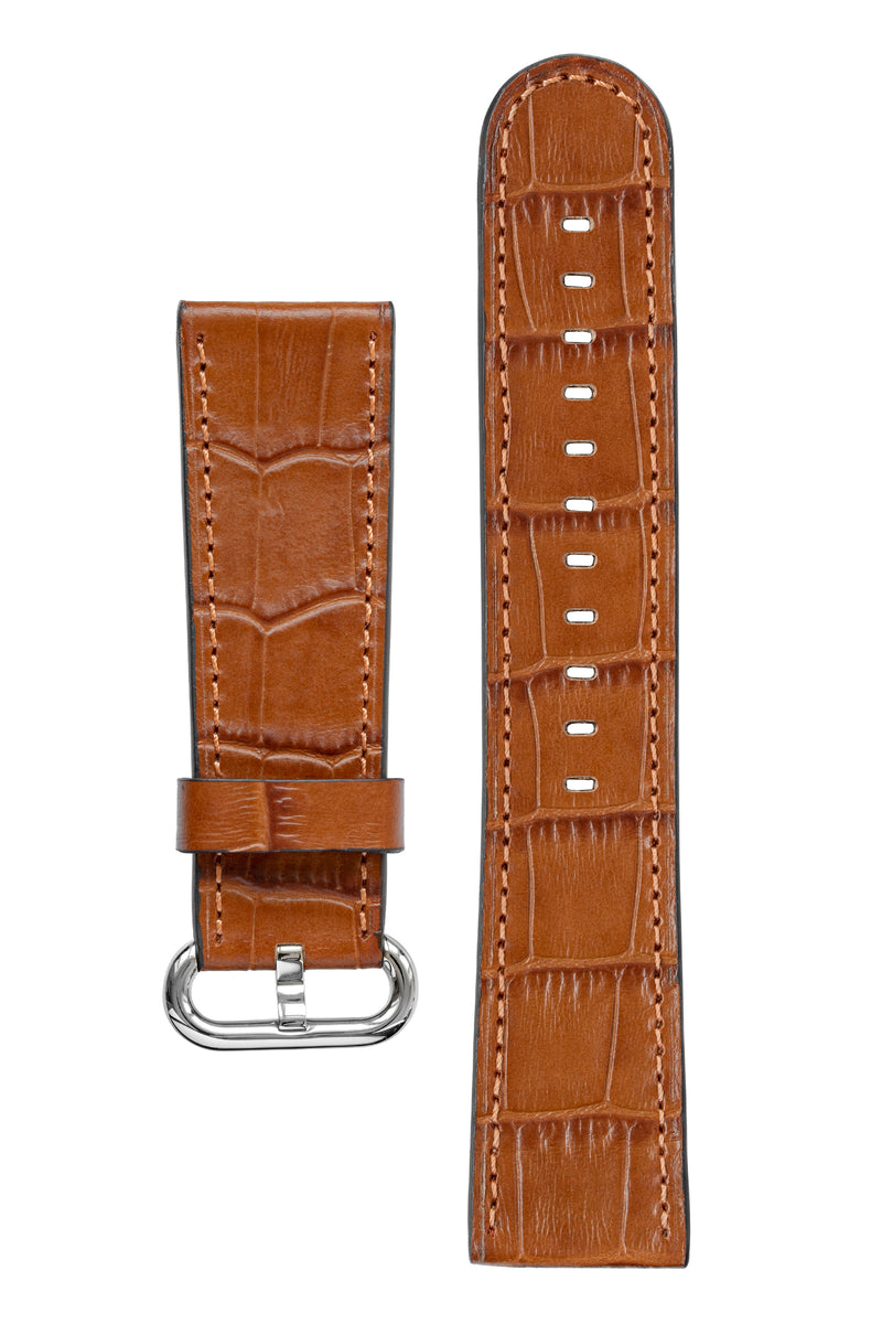 Rios1931 STREAM Alligator-Embossed Leather Watch Strap for 42 / 44mm Apple Watch in COGNAC