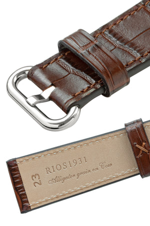 Rios1931 STREAM Alligator-Embossed Leather Watch Strap for 42 / 44mm Apple Watch in MAHOGANY