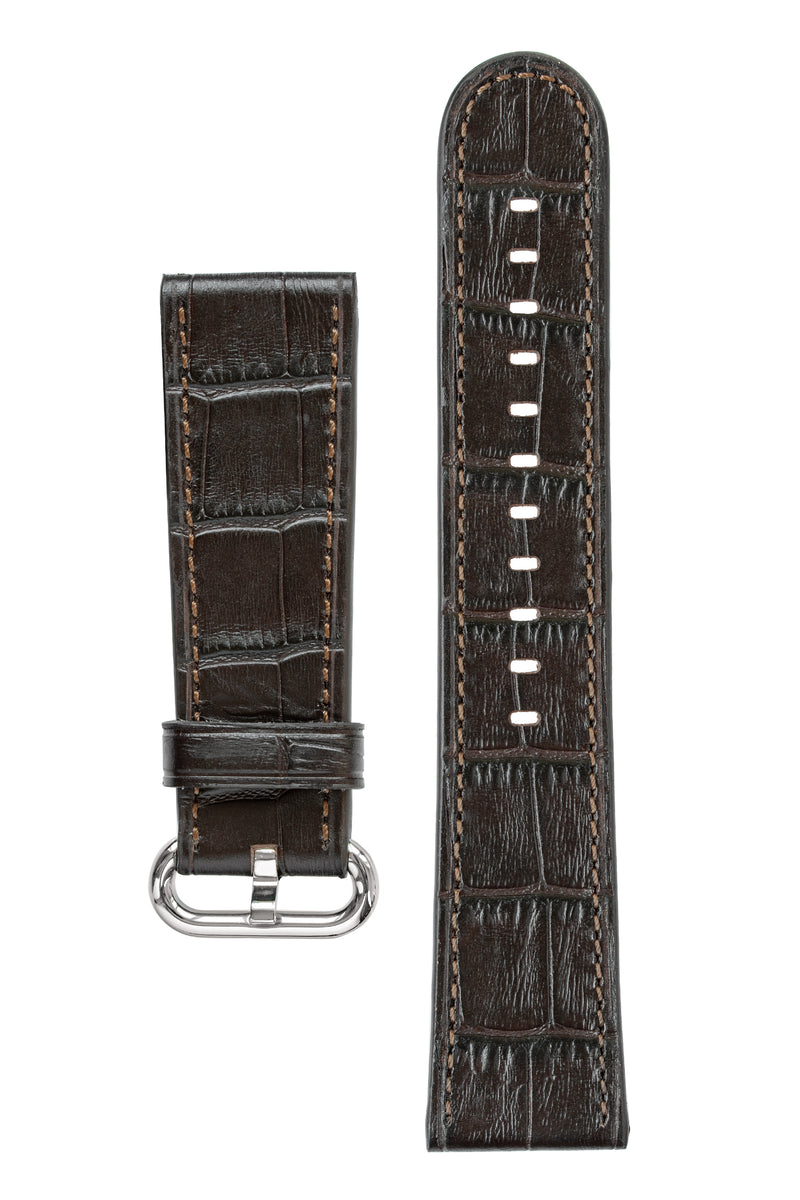 Rios1931 STREAM Alligator-Embossed Leather Watch Strap for 42 / 44mm Apple Watch in MOCHA