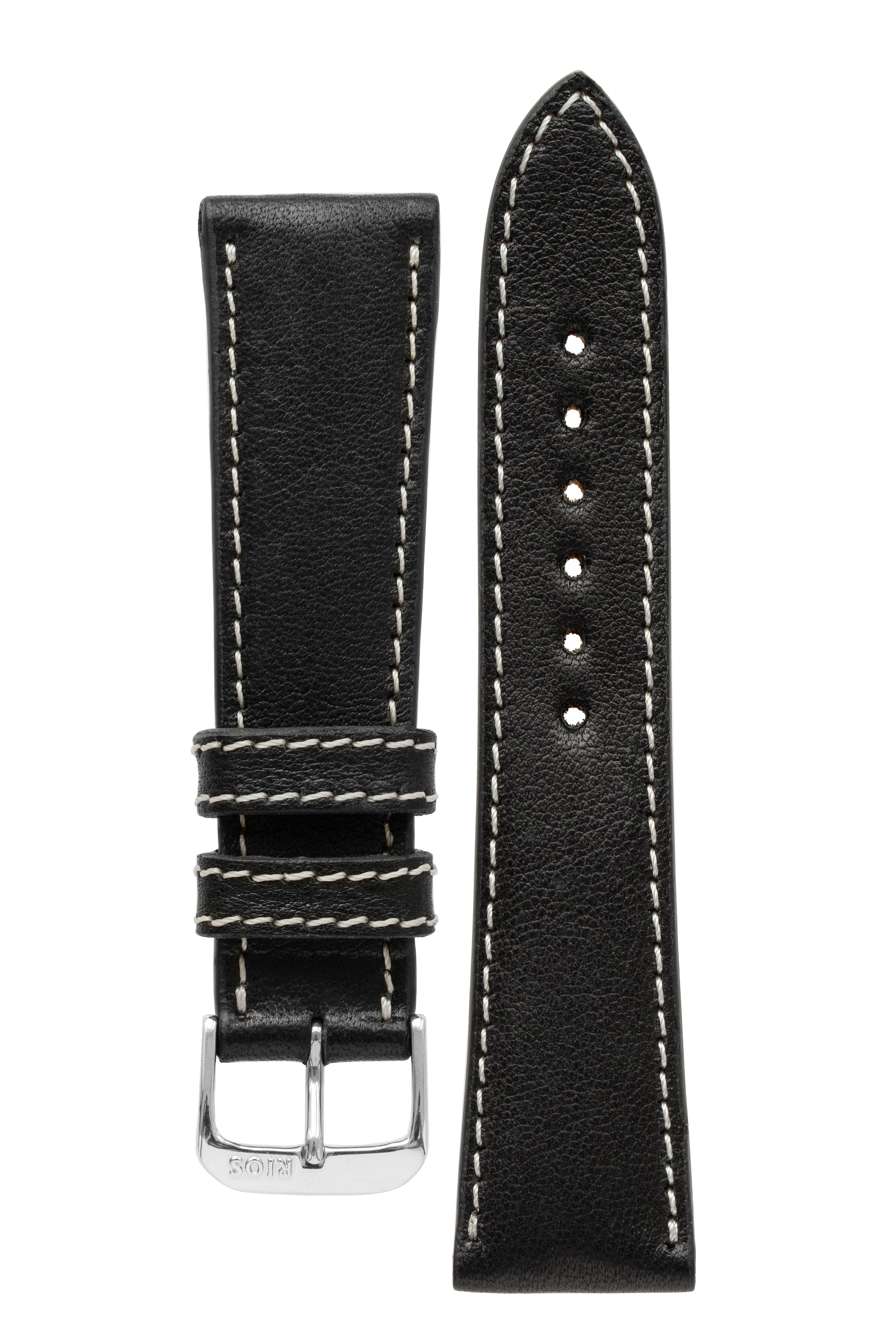 Rios1931 WEILHEIM Organic Leather Watch Strap in BLACK