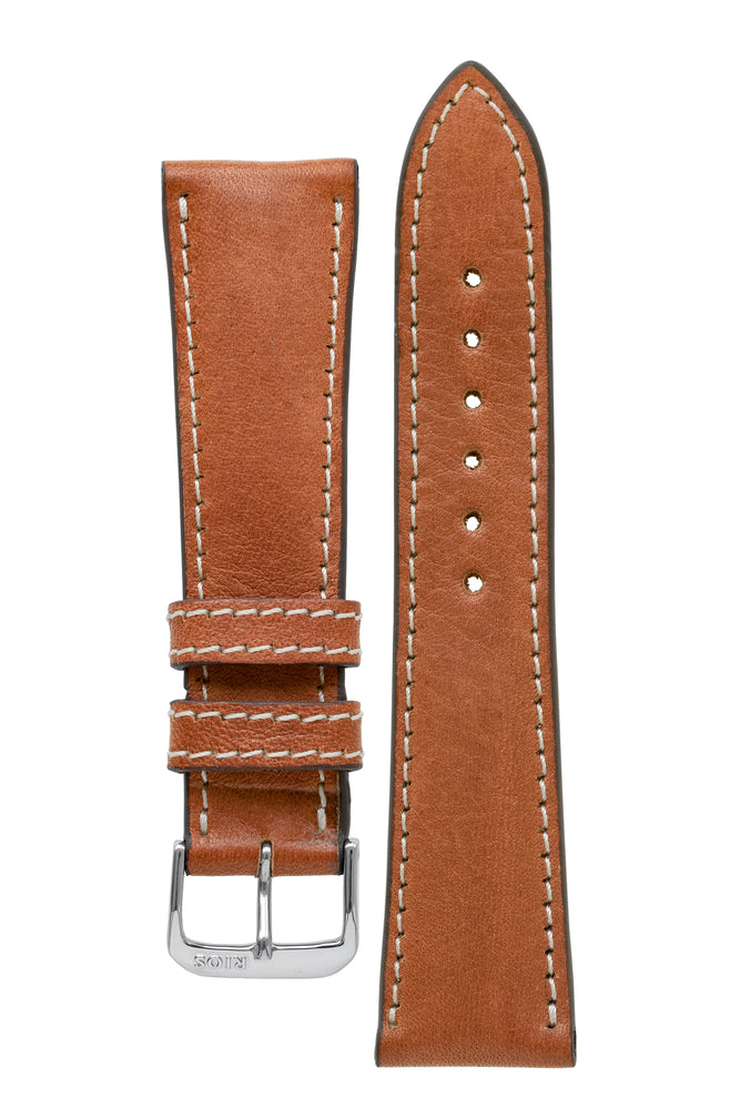 Rios1931 WEILHEIM Organic Leather Watch Strap in COGNAC