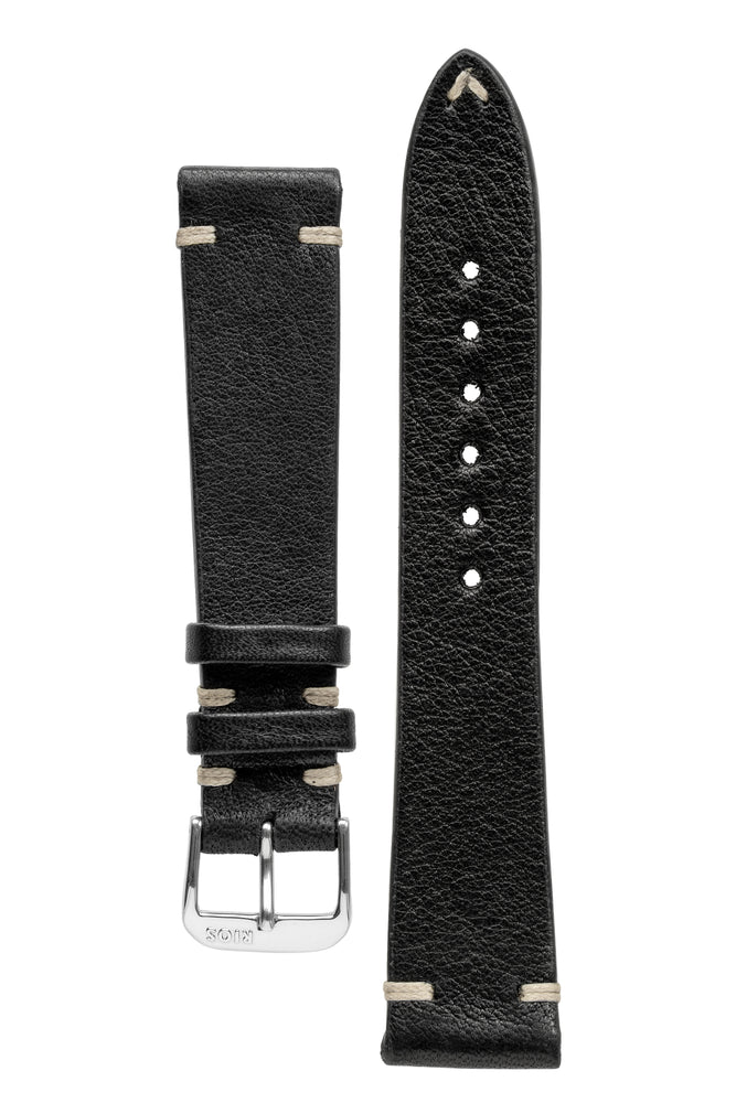 Rios1931 INZELL Retro Organic Leather Watch Strap in BLACK