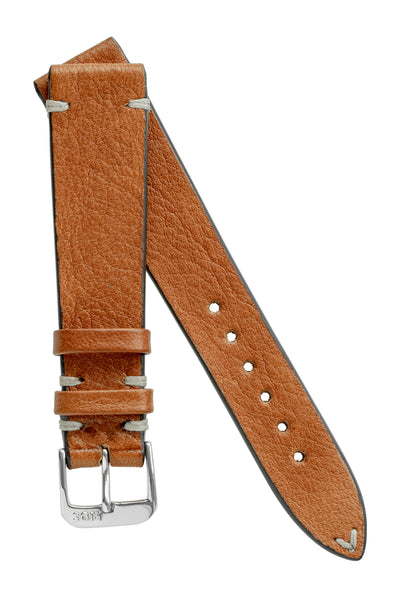 Rios1931 INZELL Retro Organic Leather Watch Strap in COGNAC