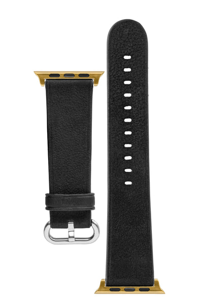 Rios1931 LIFE Genuine Vintage Leather Watch Strap for 42 / 44mm Apple Watch in BLACK