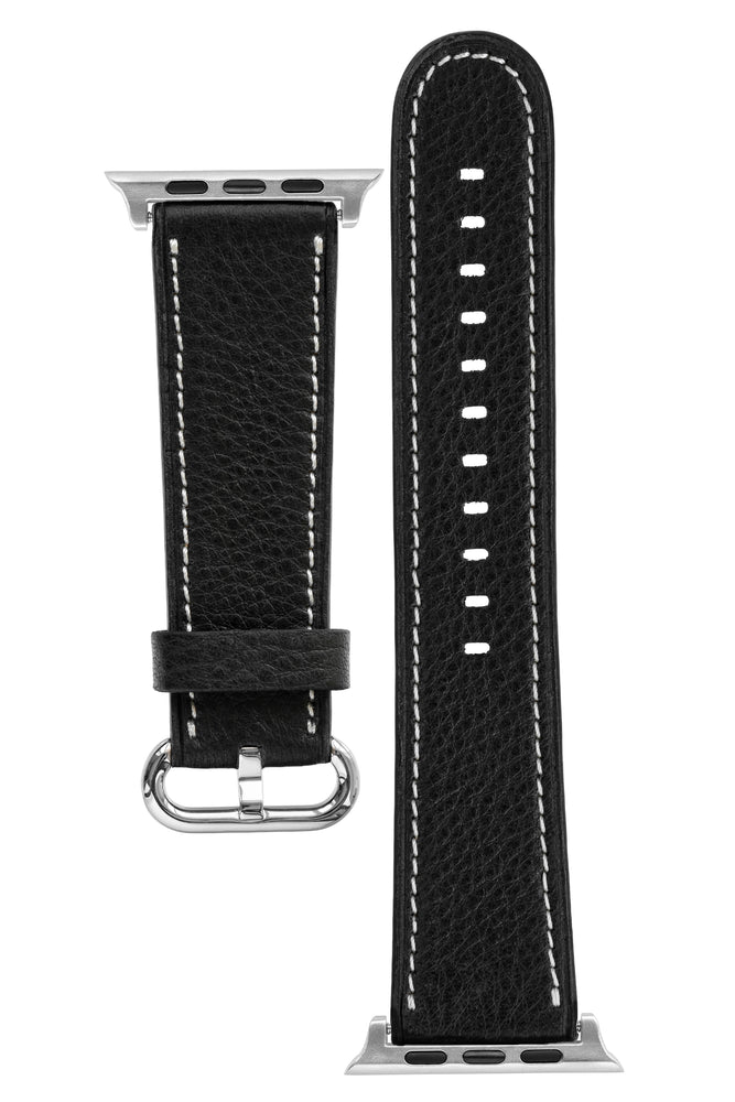 Rios1931 MESSENGER Organic Leather Watch Strap for 42 / 44mm Apple Watch in BLACK