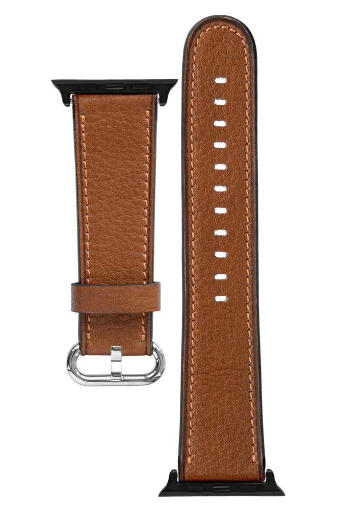 Rios1931 ONLINE Organic Leather Watch Strap for 42 / 44mm Apple Watch in COGNAC
