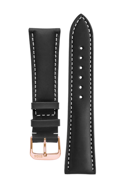 Rios1931 POLO Water Resistant Cow Leather Watch Strap in BLACK