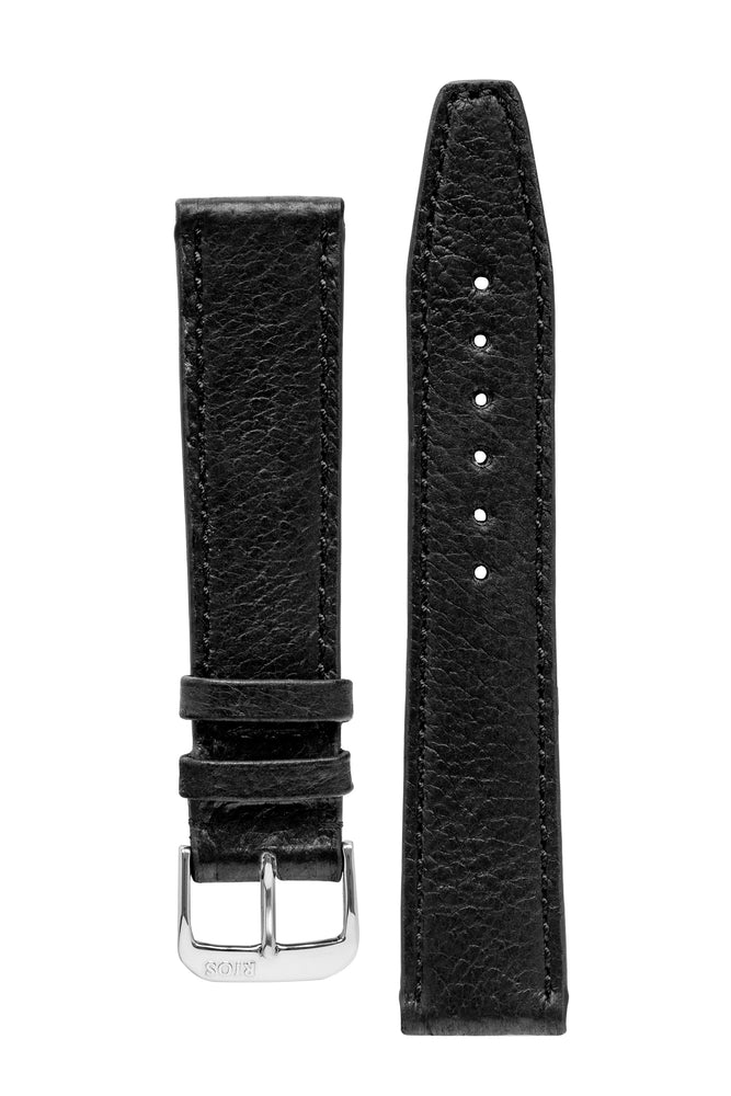 Rios1931 TOBACCO Genuine Pigskin Leather Watch Strap in BLACK