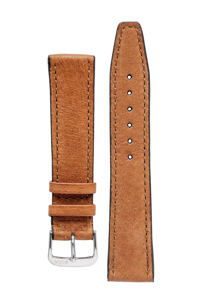 Rios1931 TOBACCO Genuine Pigskin Leather Watch Strap in COGNAC