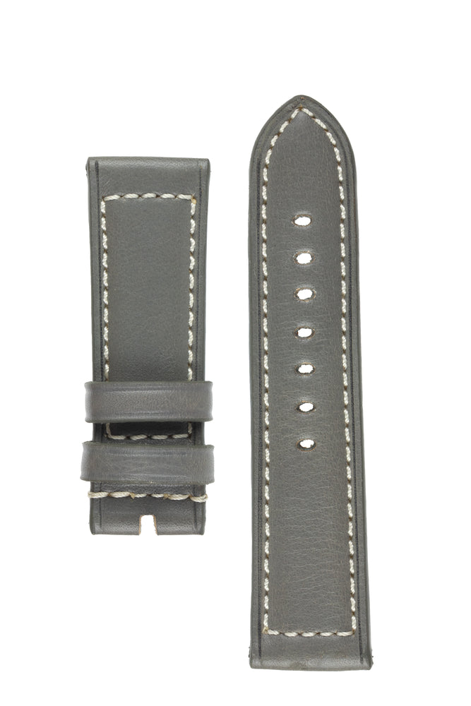 Rios1931 FIRENZE Genuine Russia Leather Watch Strap in STONE GREY