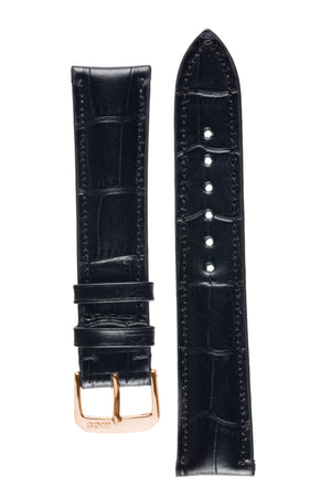 Rios1931 LOUISIANA Alligator-Embossed Leather Watch Strap in BLACK