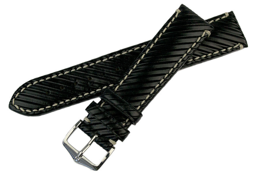Hirsch Rivetta calf leather watch strap and buckle in Black