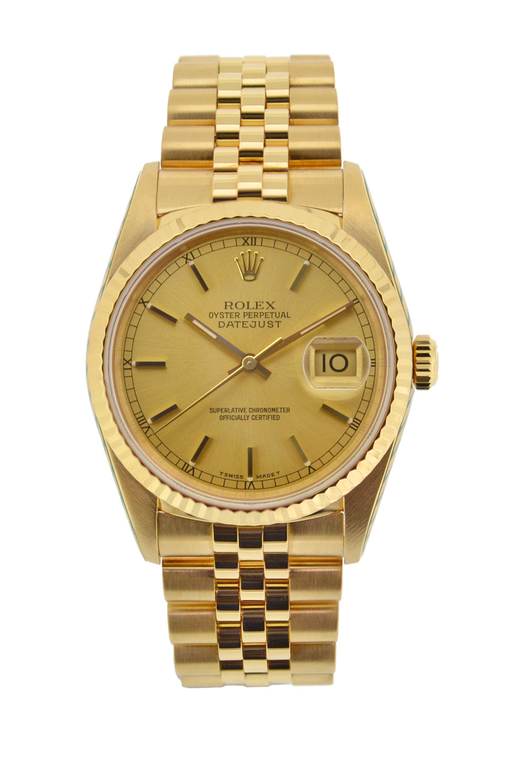 Rolex Oyster Datejust 18k Gold Automatic Watch 16238