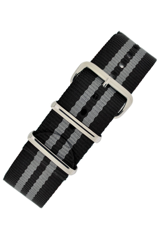 Hirsch Rush Nylon NATO Watch Strap in Black with Grey Double-Stripes