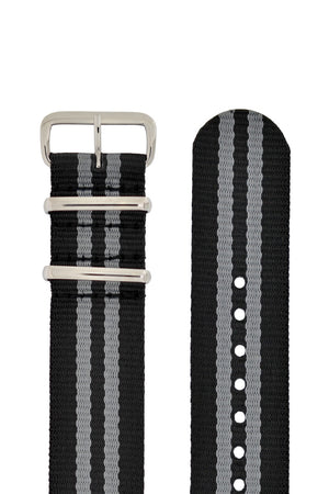 Hirsch Rush Nylon NATO Watch Strap in Black with Grey Double-Stripes (Hardware & Rounded Taper)