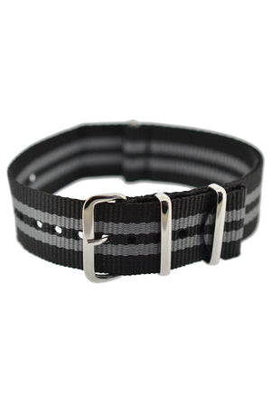 Hirsch Rush Nylon NATO Watch Strap in Black with Grey Double-Stripes (Fastened)