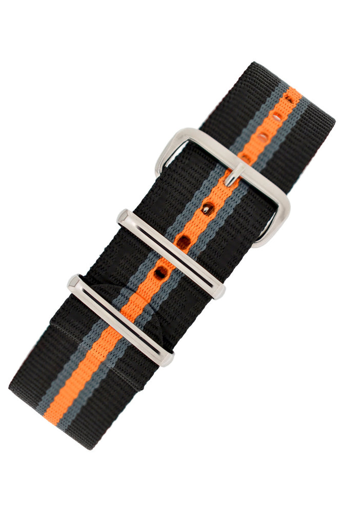 Hirsch Rush Nylon NATO Watch Strap in Black with Grey & Orange Stripe