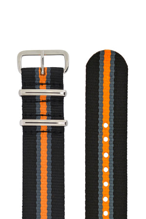 Hirsch Rush Nylon NATO Watch Strap in Black with Grey & Orange Stripe (Hardware & Rounded Taper)