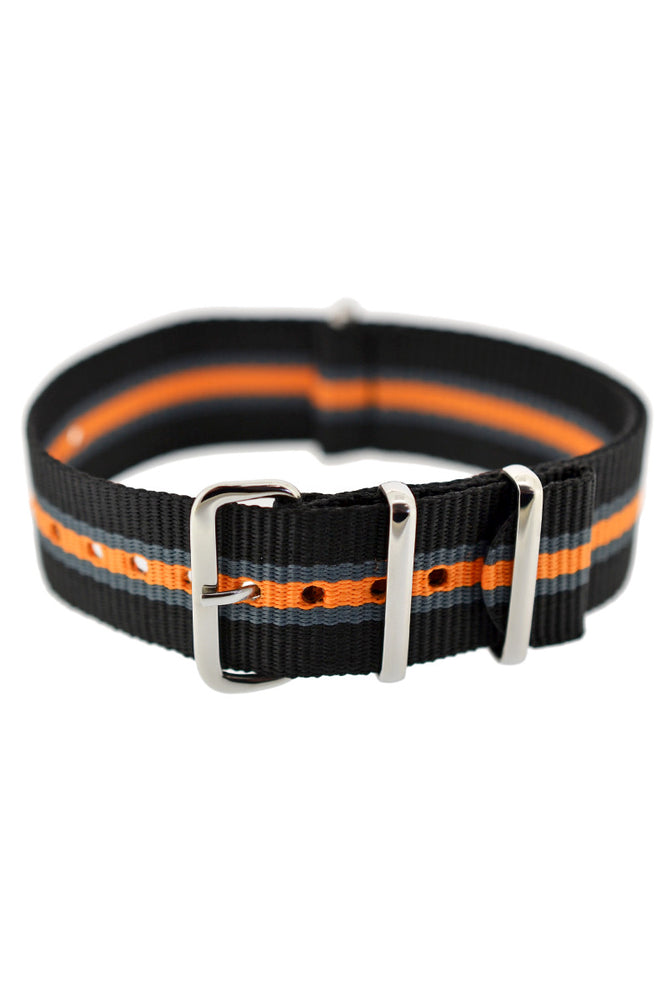Hirsch Rush Nylon NATO Watch Strap in Black with Grey & Orange Stripe (Fastened)