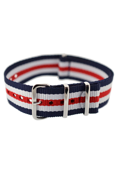 Hirsch RUSH Nylon NATO Watch Strap in BLUE / WHITE / RED