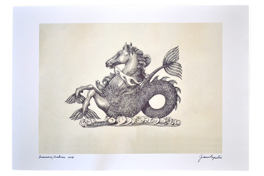 OMEGA HIPPOCAMPS SEAHORSE Quality Print - BLACK Ink