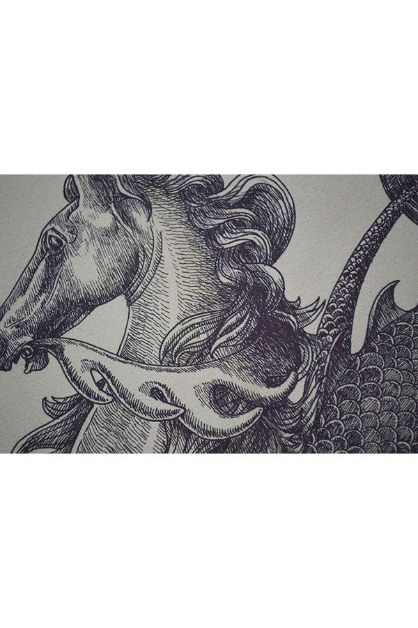 Load image into Gallery viewer, OMEGA HIPPOCAMPUS SEAHORSE Quality Print - BLACK Ink