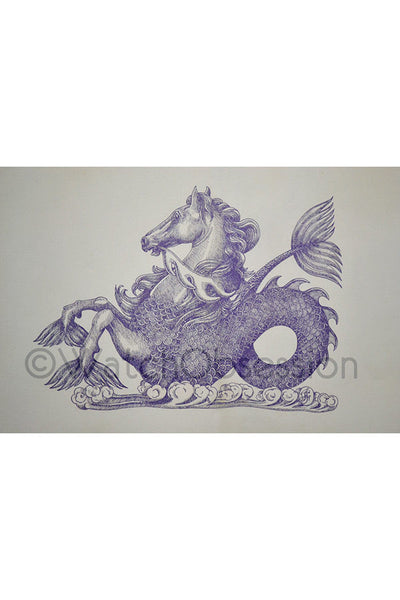 OMEGA HIPPOCAMPUS SEAHORSE Quality Print - BLUE Ink