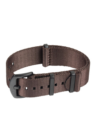 Load image into Gallery viewer, Seatbelt NATO Nylon Watch Strap in DARK BROWN with BLACK PVD Hardware