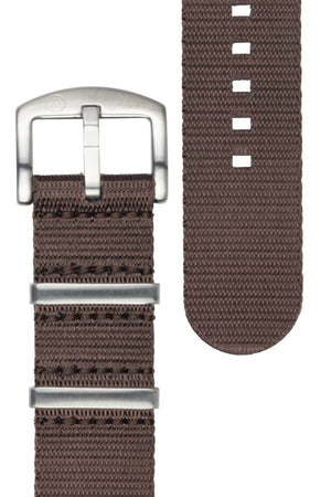 Seatbelt NATO Nylon Watch Strap in DARK BROWN with BRUSHED STEEL Hardware