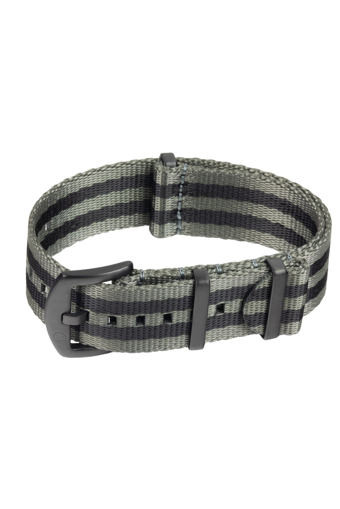 Seatbelt NATO Nylon Watch Strap in GREY & BLACK Stripes with BLACK PVD Hardware