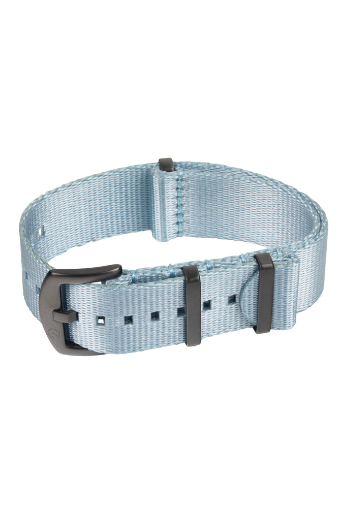 Load image into Gallery viewer, Seatbelt NATO Nylon Watch Strap in SKY BLUE with BLACK PVD Hardware