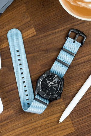 Seatbelt NATO Nylon Watch Strap in SKY BLUE with BLACK PVD Hardware