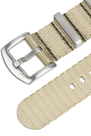 Seatbelt NATO Nylon Watch Strap in OATMEAL with BRUSHED STEEL Hardware