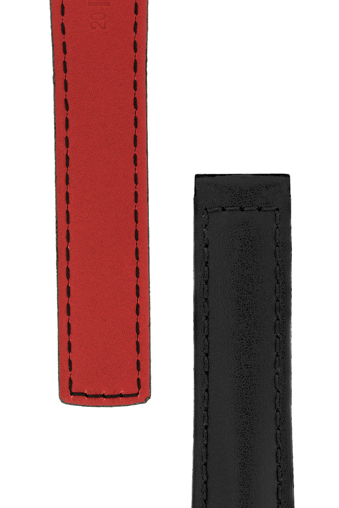 Hirsch Speed Calfskin Deployment Watch Strap in Black with Red Underside (Tapers)