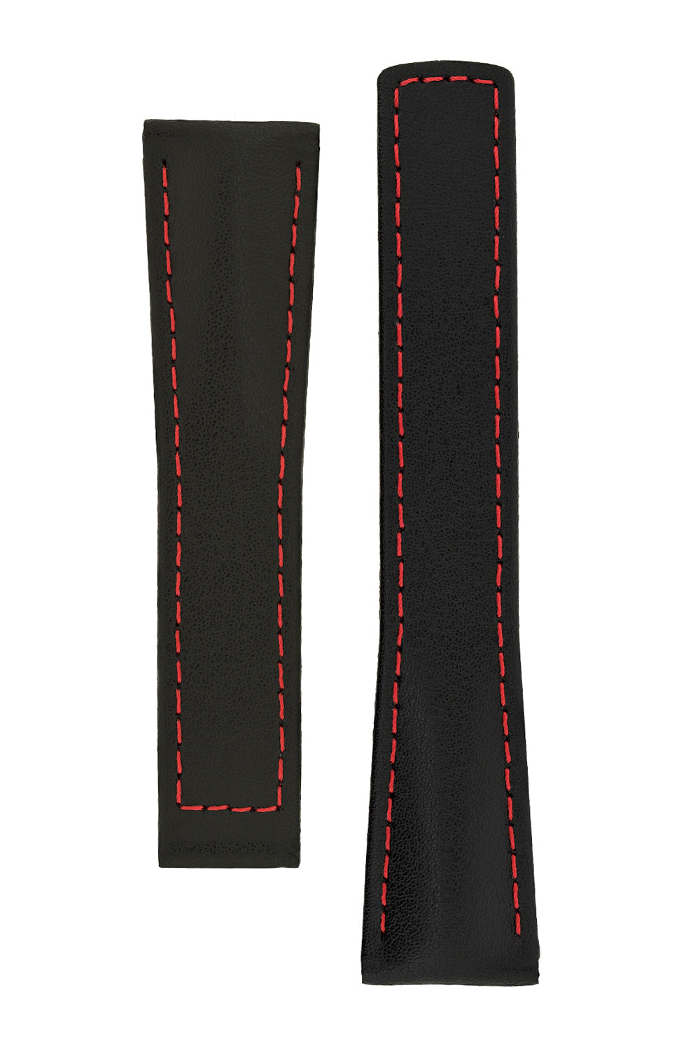 Hirsch SPEED Calfskin Deployment Watch Strap in BLACK/RED