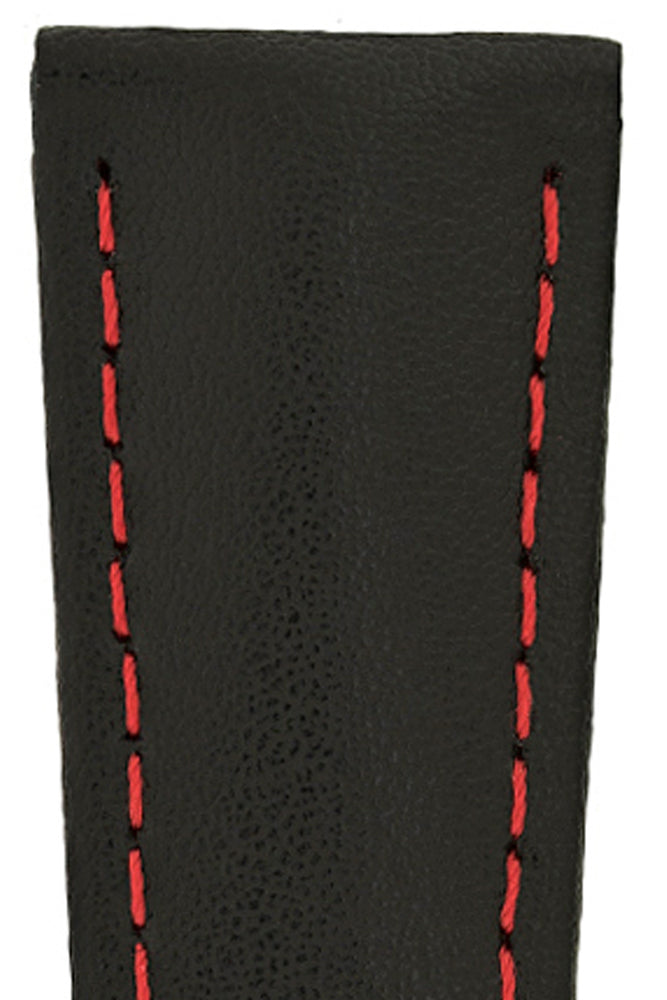 Hirsch Speed Calfskin Deployment Watch Strap in Black with Red Stitch & Underside (Close-Up Texture)