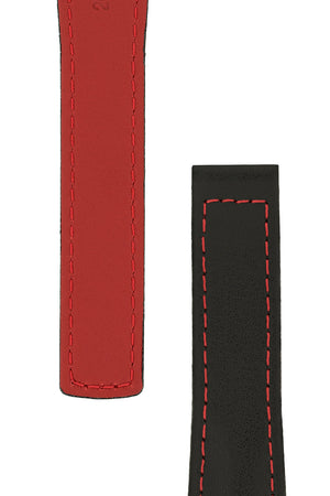 Hirsch Speed Calfskin Deployment Watch Strap in Black with Red Stitch & Underside (Tapers)