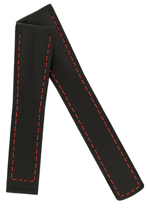 Hirsch Speed Calfskin Deployment Watch Strap in Black with Red Stitch & Underside