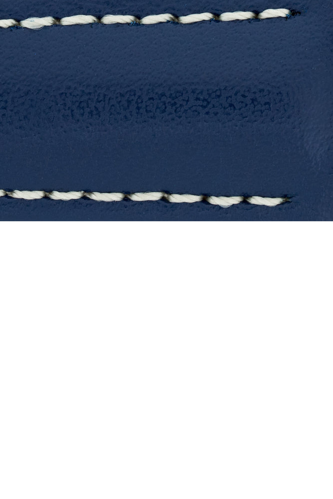 Hirsch Speed Calfskin Deployment Watch Strap in Blue with White Stitch (Close-Up Texture Detail)