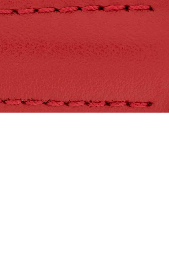 Load image into Gallery viewer, Hirsch Speed Calfskin Deployment Watch Strap in Red (Close-Up Texture Detail)
