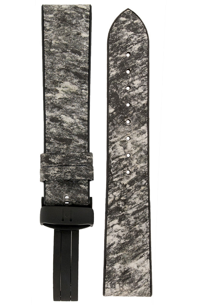 Hirsch Stone Split Shale Rock Effect Performance Watch Strap in Grey with Black Rubber Underside (with Black PVD-Coated Hirsch Sport Deployment Clasp)