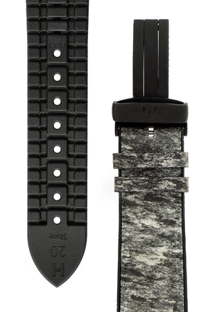 Hirsch Stone Split Shale Rock Effect Performance Watch Strap in Grey with Black Rubber Underside (Tapers)