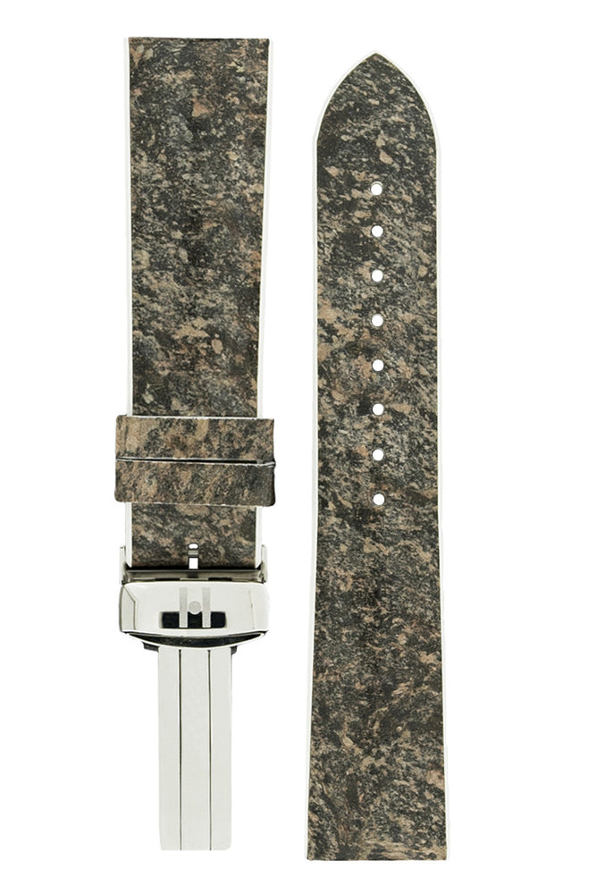 Hirsch Stone Split Shale Rock Effect Performance Watch Strap in Grey with White Rubber Underside (with Polished Steel Hirsch Sport Deployment Clasp)