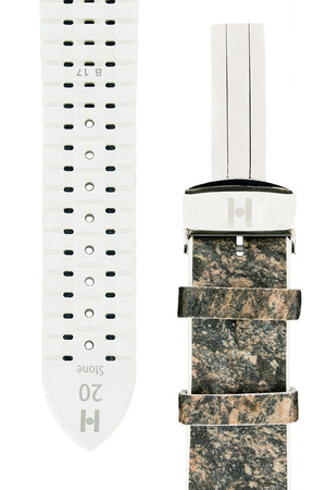 Hirsch Stone Split Shale Rock Effect Performance Watch Strap in Grey with White Rubber Underside (Tapers)