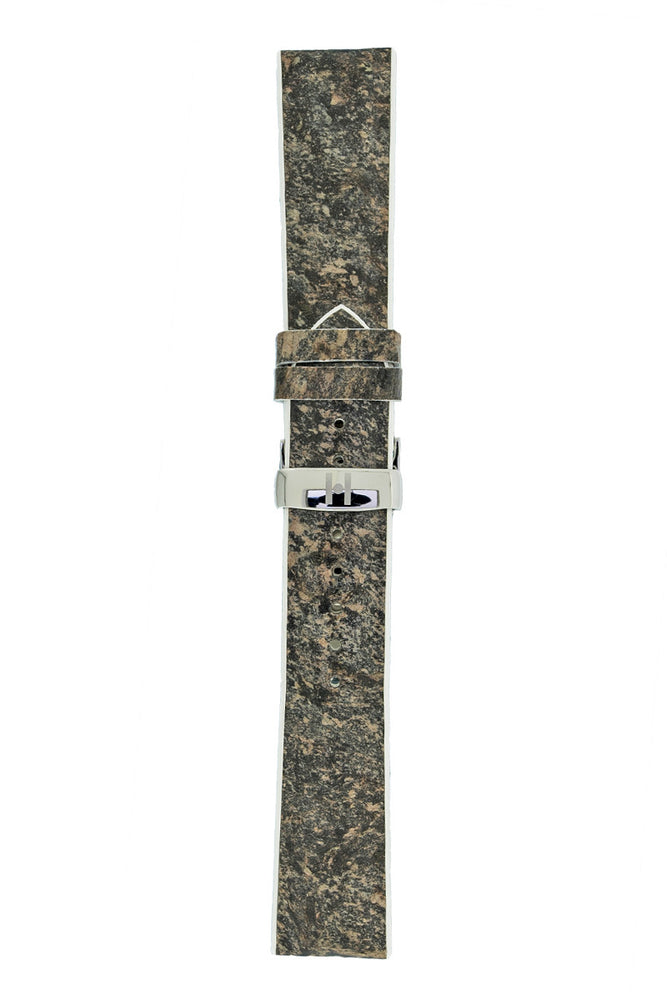 Hirsch Stone Split Shale Rock Effect Performance Watch Strap in Grey with White Rubber Underside (Full Length)