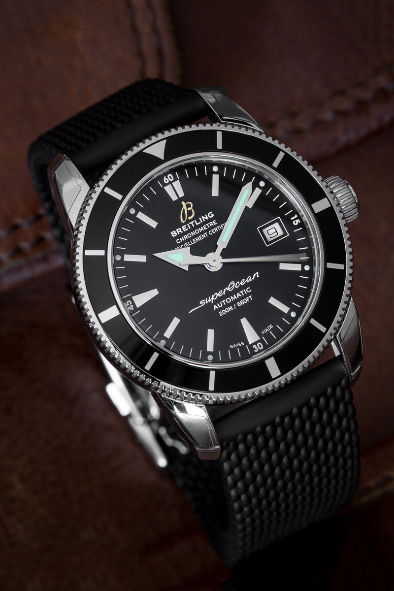 BREITLING A1732124/BA61/279S Superocean Héritage 42 Automatic Watch - Black Dial & Rubber Strap