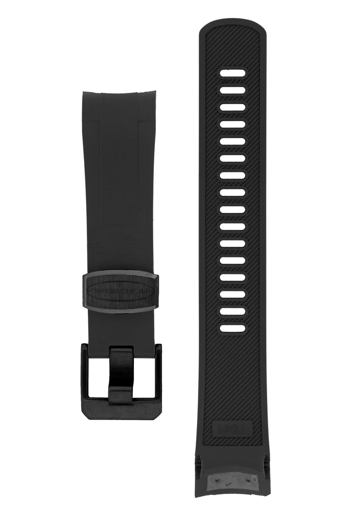 Crafter Blue Rubber Watch Strap for Tudor Black Bay Series in Black (Black PVD Hardware)