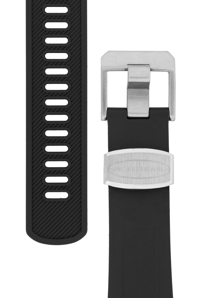 Crafter Blue Rubber Watch Strap for Tudor Black Bay Series in Black (Tapers & Buckle)
